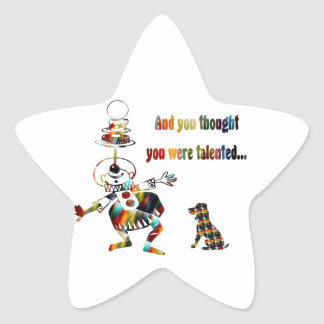 Circus Clown and His Dog Star Sticker