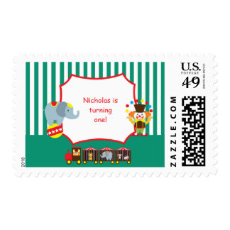Circus Clown Birthday Baby Personalized Stamp