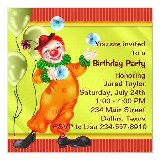 """Circus Clown Birthday Party Invitations 5.25"""" Square Invitation Card"""