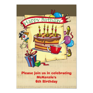 Circus Clown Birthday Party Invitations