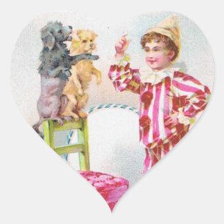 Circus Clown Boy Training Pet Dogs Heart Sticker