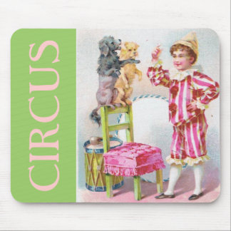 Circus Clown Boy Training Pet Dogs Mouse Pad