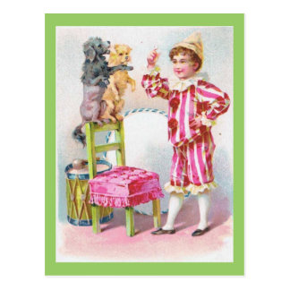 Circus Clown Boy Training Pet Dogs Postcard