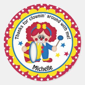 Circus Clown for Girl's Birthday Classic Round Sticker