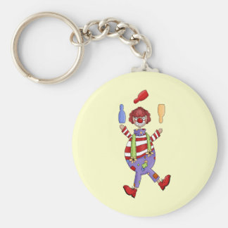 Circus Clown Juggling Basic Round Button Keychain