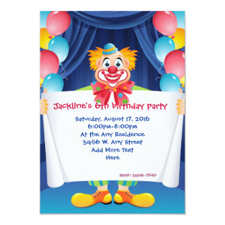 clown circus birthday party invitations quotes