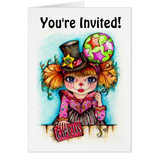 Circus Clown Party Invitations...You're Invited Card