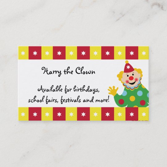 Circus clown with stars business card zazzle circus clown with stars business card colourmoves