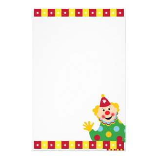 Circus Clown with Stars Stationery