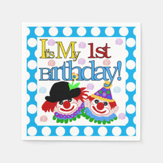 Circus Clowns 1st Birthday Paper Napkins