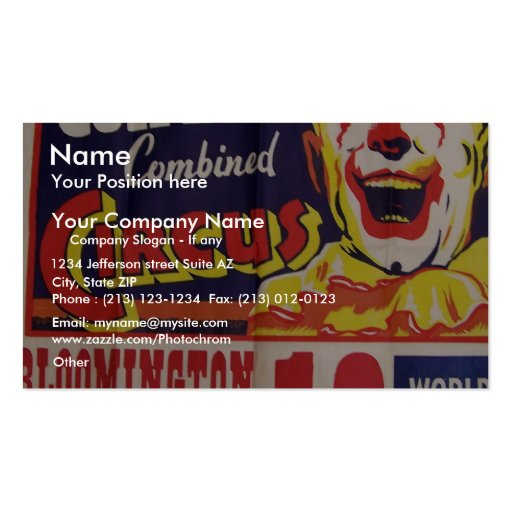 Circus, 'Clyde Beatty and Cole Bros' Retro Theater Business Card