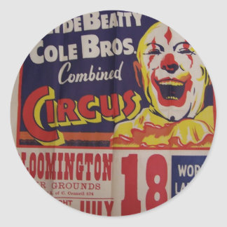 Circus, 'Clyde Beatty and Cole Bros' Retro Theater Classic Round Sticker