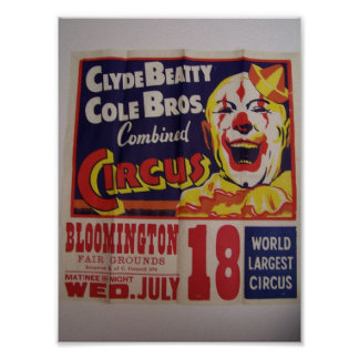 Circus, 'Clyde Beatty and Cole Bros' Retro Theater Print