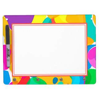 Circus Colors Chaos Abstract Art Pattern Dry Erase Board With Keychain Holder