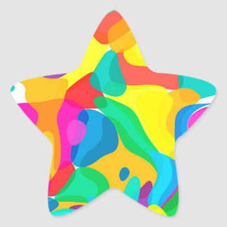Circus Colors Chaos Abstract Art Pattern Star Sticker
