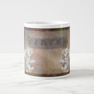 Circus design, text and elephants in corner 20 oz large ceramic coffee mug