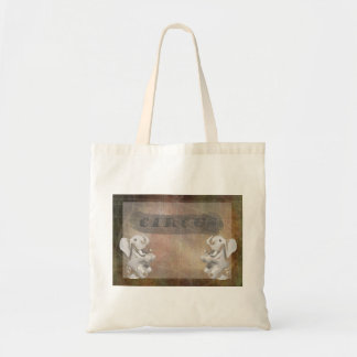 Circus design, text and elephants in corner canvas bag
