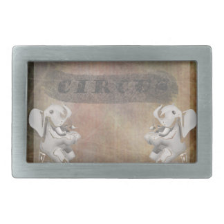 Circus design, text and elephants in corner belt buckles