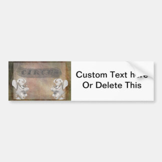 Circus design, text and elephants in corner bumper sticker