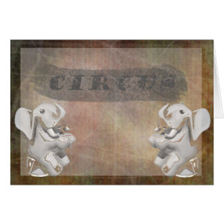 Circus design, text and elephants in corner greeting card