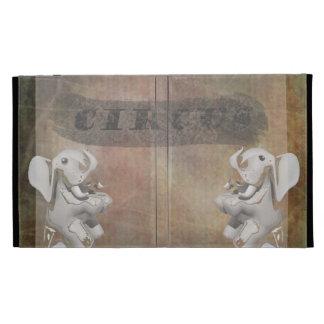 Circus design, text and elephants in corner iPad folio cases