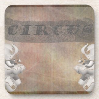 Circus design, text and elephants in corner beverage coasters