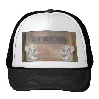 Circus design, text and elephants in corner mesh hat