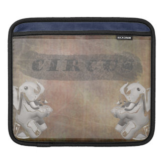 Circus design, text and elephants in corner iPad sleeve