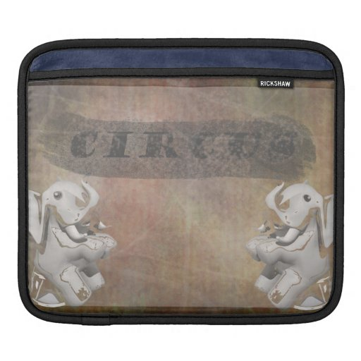 Circus design, text and elephants in corner iPad sleeve