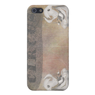 Circus design, text and elephants in corner iPhone 5 case