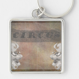 Circus design, text and elephants in corner keychains