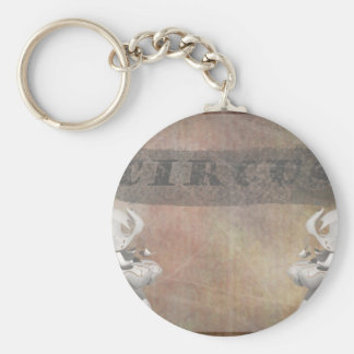 Circus design, text and elephants in corner key chain