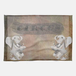 Circus design, text and elephants in corner hand towels