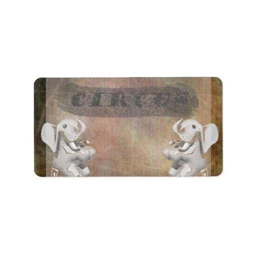 Circus design, text and elephants in corner address label
