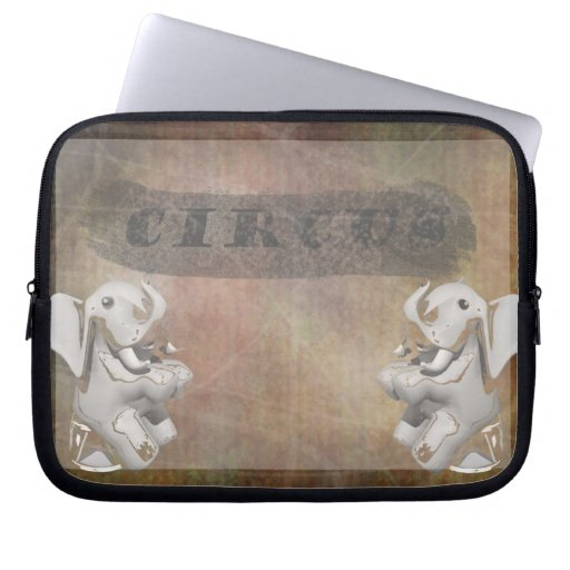 Circus design, text and elephants in corner laptop computer sleeve