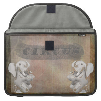 Circus design, text and elephants in corner MacBook pro sleeves