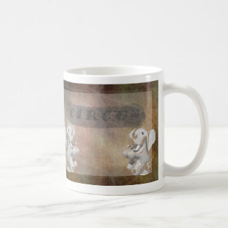 Circus design, text and elephants in corner mug