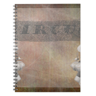 Circus design, text and elephants in corner spiral notebook