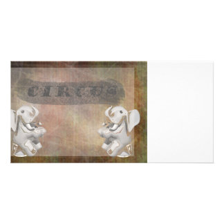 Circus design, text and elephants in corner custom photo card