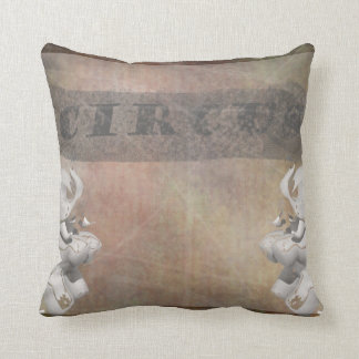 Circus design, text and elephants in corner pillow