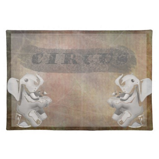 Circus design, text and elephants in corner place mat