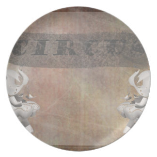 Circus design, text and elephants in corner party plate