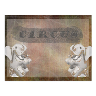 Circus design, text and elephants in corner postcard