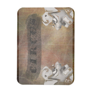 Circus design, text and elephants in corner rectangle magnet