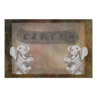 Circus design, text and elephants in corner print