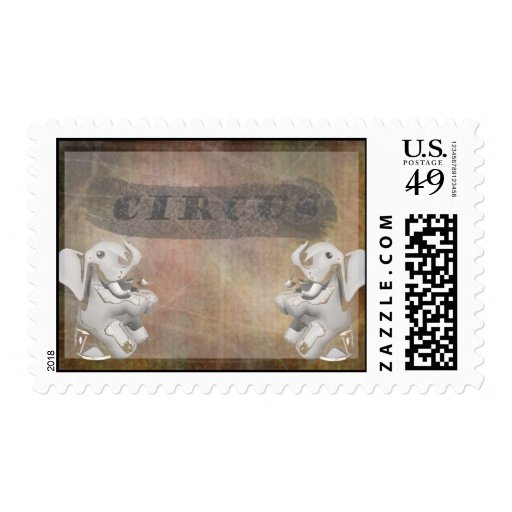 Circus design, text and elephants in corner stamp
