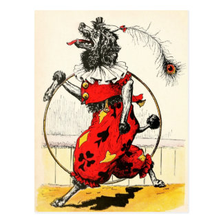 Circus Dog with Hula Hoop Postcard