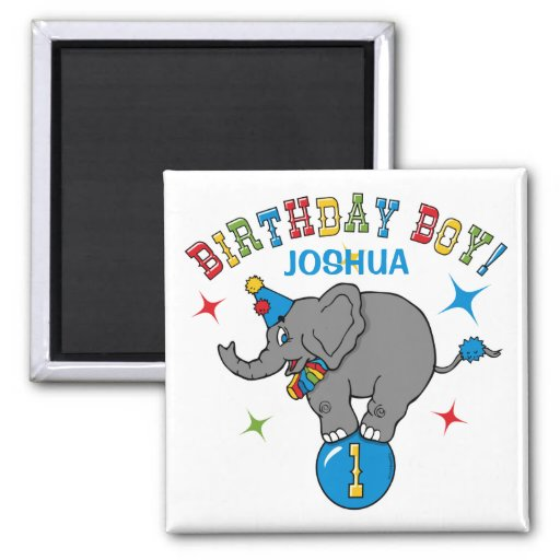 Circus Elephant 1st Birthday 2 Inch Square Magnet