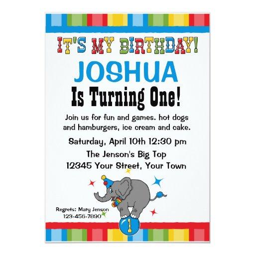 Circus Elephant 1st Birthday Custom Invitations