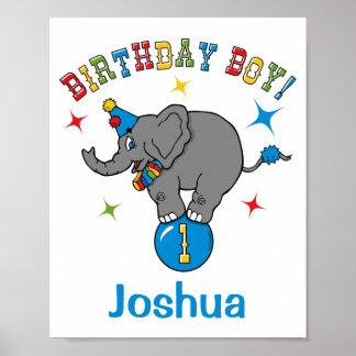 Circus Elephant 1st Birthday Poster